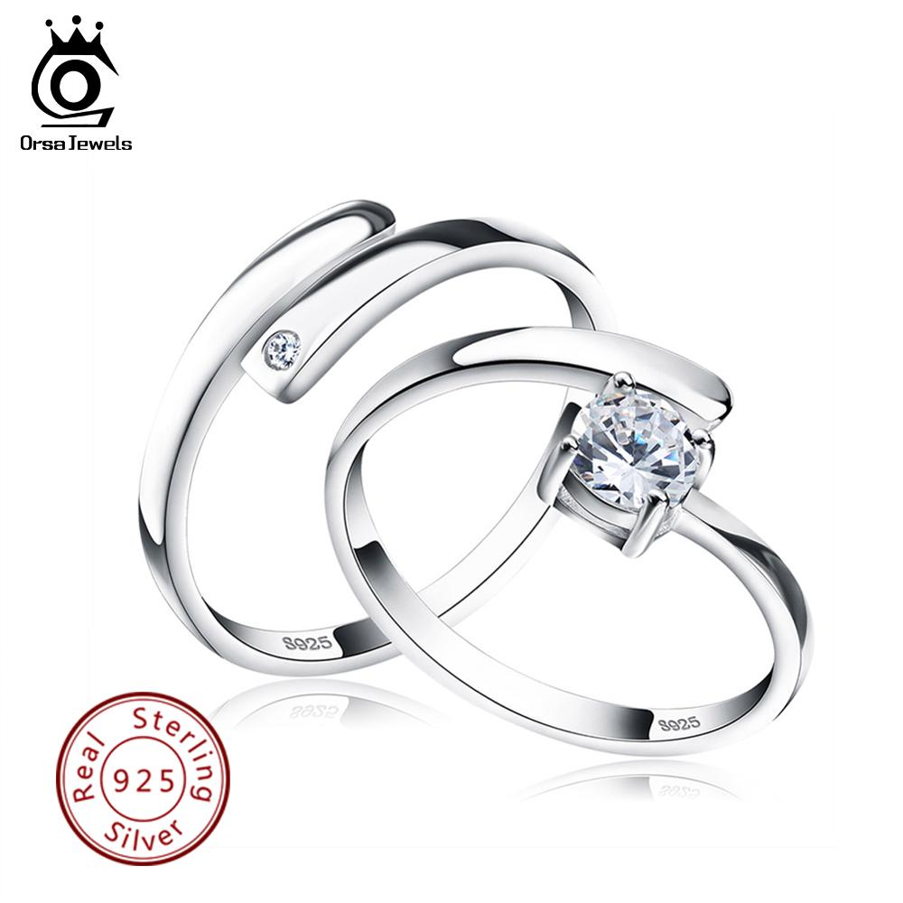 ORSA JEWELS 925 Silver Ring Set With CZ Fine Jewelry For Women Men 2019 New Resizable Real 925 Sterling Silver Jewelry SR22