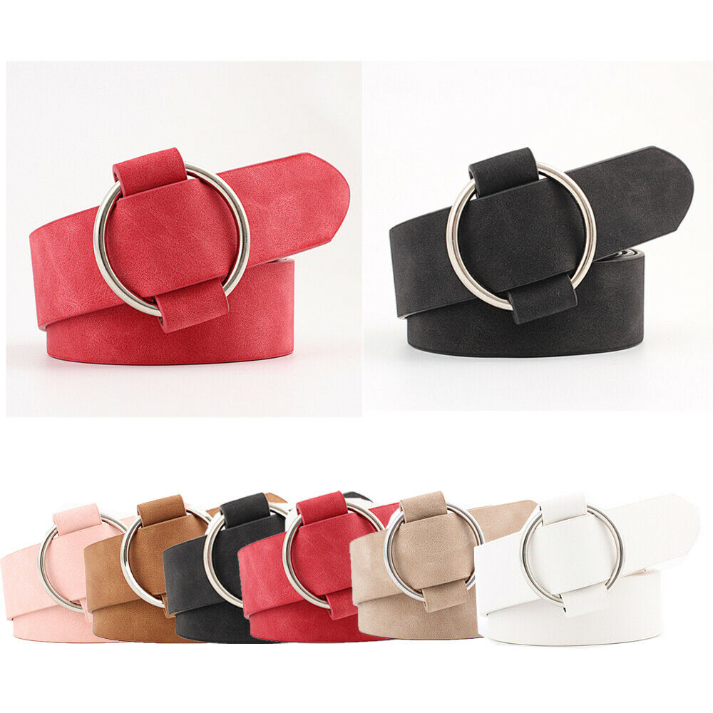 Hirigin New Women Lady Vintage Metal Boho Leather Round Buckle Waist Belt Waistband Red/Pink/Khaki/Black/White/Camel Available