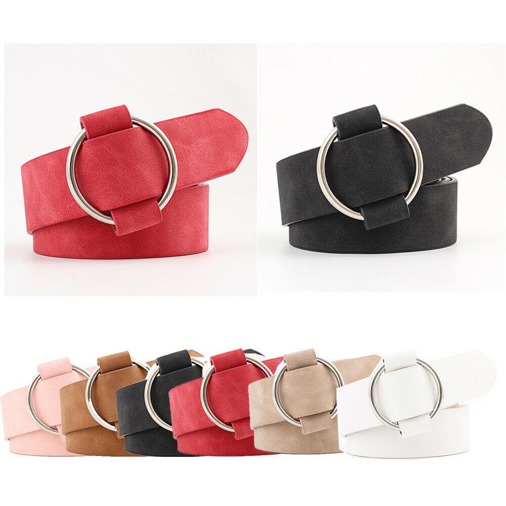 Hirigin New Women Lady Vintage Metal Boho Leather Round Buckle Waist Belt Waistband Red/Pink/Khaki/Black/White/Camel Available