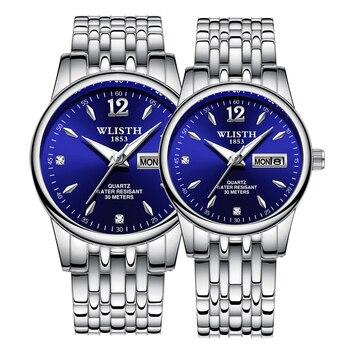 Couple Quartz Stainless Steel Strap Luminous Couples watch Set  1