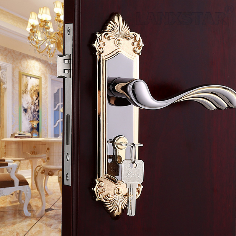 Factory Direct Supply Mechanical Bedroom Door Locks High Quality Zinc Alloy Material Security Benefits Mute Lockcore Handle Lock