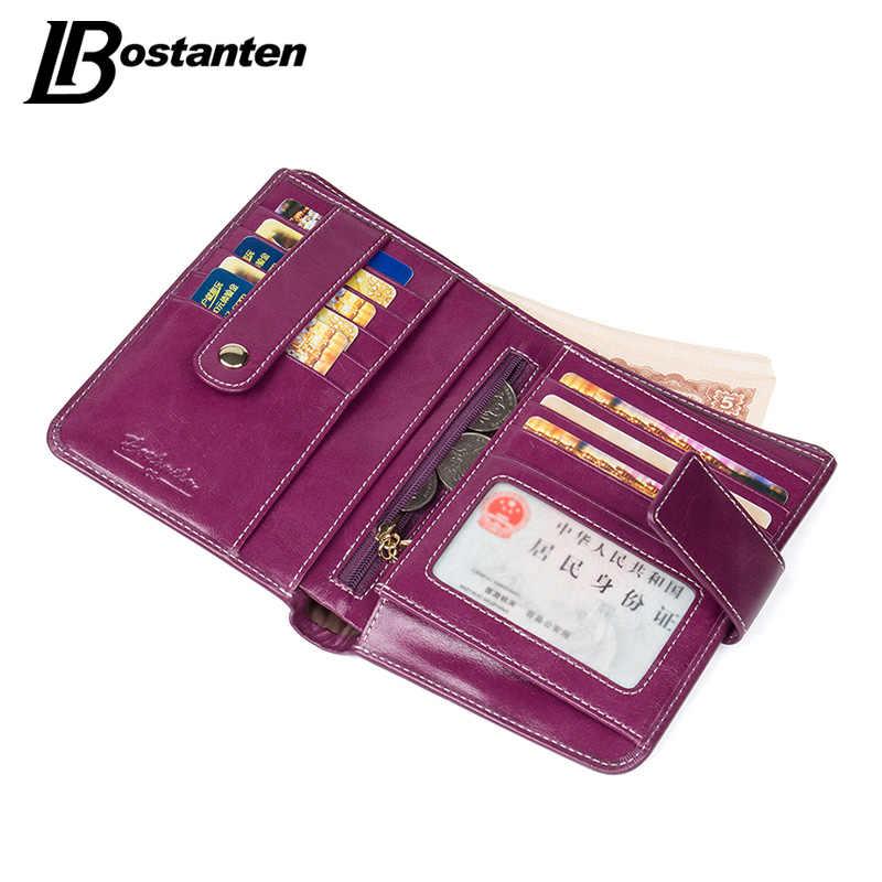 BOSTANTEN/женские кошельки из натуральной кожи высокого качества, кошелек с застежкой, держатель для кредитных карт, кошелек, винтажный женский кошелек из вощеной кожи