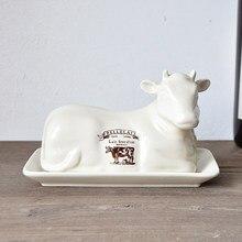 Prato de queijo forma de vaca criativa prato de manteiga de mesa estilo europeu com cobertura prato de pão prato de pastelaria
