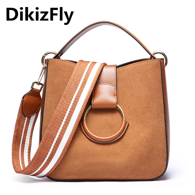 DikizFly Fashion Vintage Handbags Suede Leather Women Bags Totes Solid Flap Circle Crossbody Bag Woman Handbag bolsas feminina