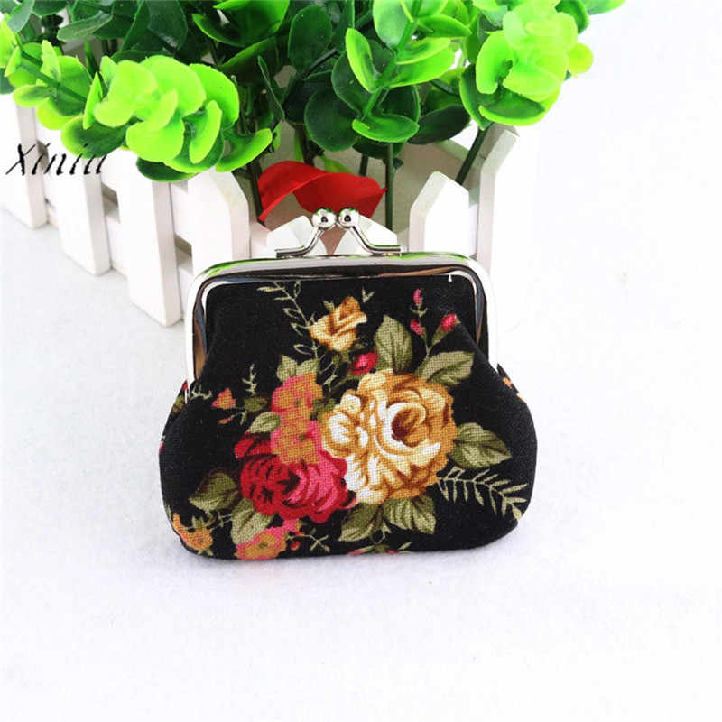 Women Coin Purses Lady Retro Vintage Flower Small Wallet Hasp Purse Clutch Bag Cute Canvas Women Coin Bag Key Case Carteira