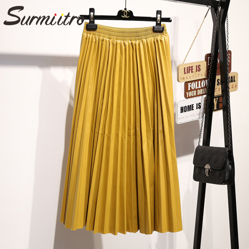 Surmiitro Midi Long PU Skirt Women 2018 Autumn Winter Korean Elegant Pleated High Waist Leather Skirt Female A line Office Skirt
