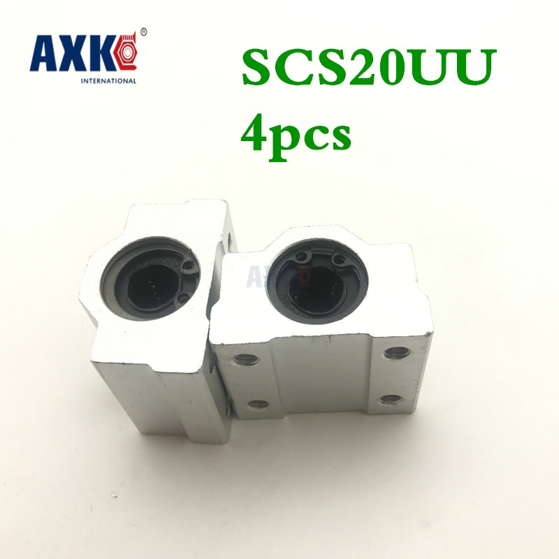High Quality 4 Pcs Sc20uu Scs20uu 20mm Linear Ball Bearing Slide Unit 20mm Linear Bearing Block For Diy Cnc Router Linear Slide axk sc8uu scs8uu slide unit block bearing steel linear motion ball bearing slide bushing shaft cnc router diy 3d printer parts