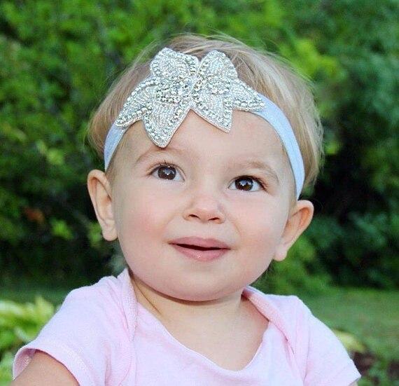 BAPTIST CHRISTENING DIAMANTE  RHINESTONE BABY GIRLS HEADBAND IVORY WHITE