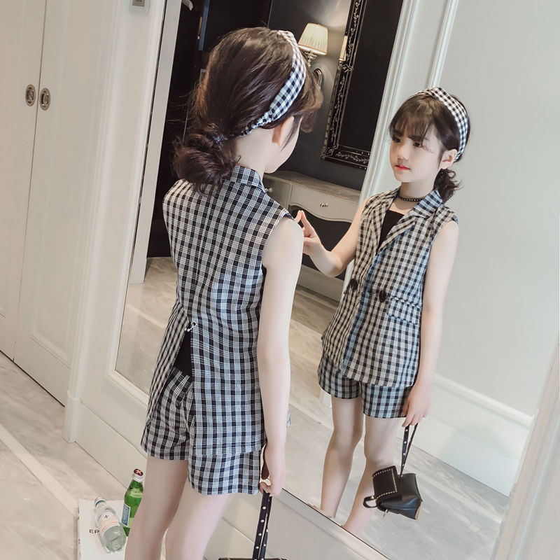 Teenage Girls Clothing Suit Summer Plaid Jacket Shorts Tracksuit 3pcs School Uniform Girls Clothes Set Children Outfits 10 Years