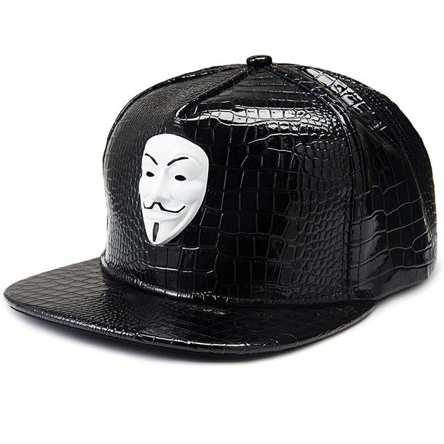 Moda americana filme v for vendetta máscara hop etiqueta de couro pu boné de beisebol tampa plana ao longo snapback chapéu