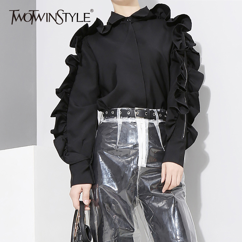 TWOTWINSTYLE Ruffles Shirt Female Patchwork Off Shoulder Zipper Long Sleeve Blouse Top For Women Spring Harajuku New Clothing