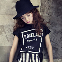 Summer Girl Short Sleeve Pity Black And White Stripe Tight T shirt Shorts Suit Kids 2 Pieces Clothing Sets 2 Colour