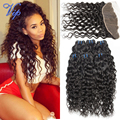 Peruvian Virgin Hair Water Wave With Closure 13x4 Lace Frontal Closure With Bundles Peruvian Water Wave Human Hair Wet And Wavy