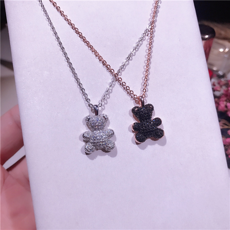 Little Bear Pendant Necklace Crystals Rose Gold Color Fashion Choker Necklace for Women Girls Jewelry