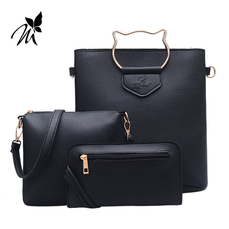 Four new han edition personality joker contracted lash litchi grain bucket bag handbag shoulder inclined across packages