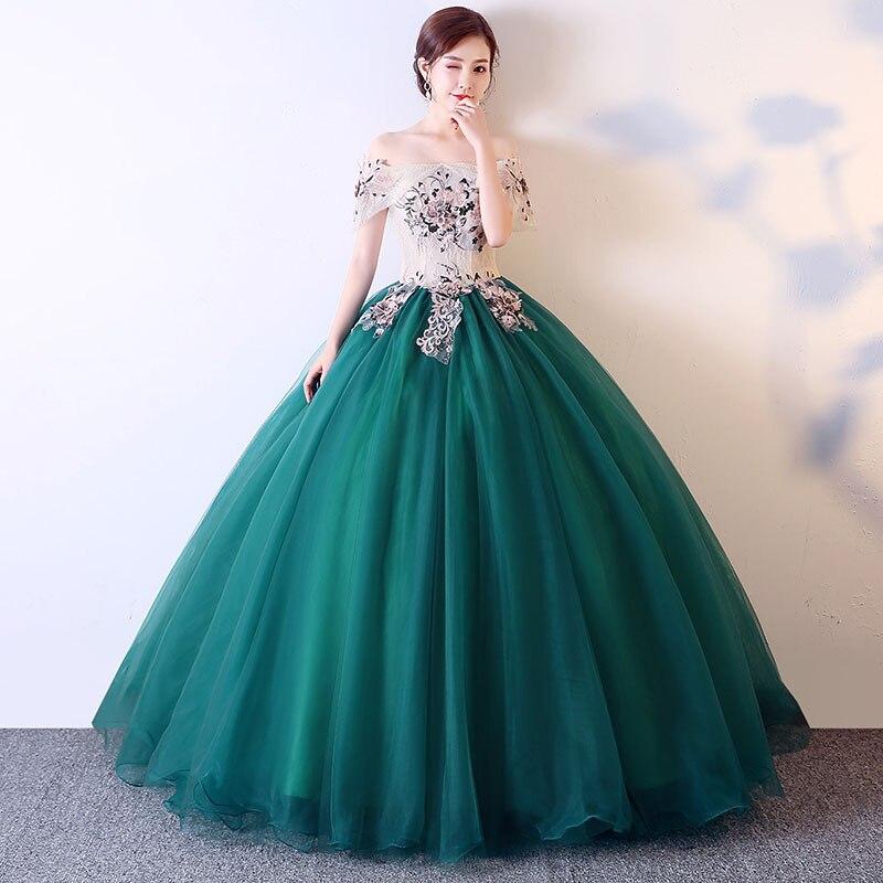 Robe De bal élégante longueur au sol hors épaule Quinceanera robes Vestidos De 15 Anos Applique Debutante douce fille 16 robe De soirée