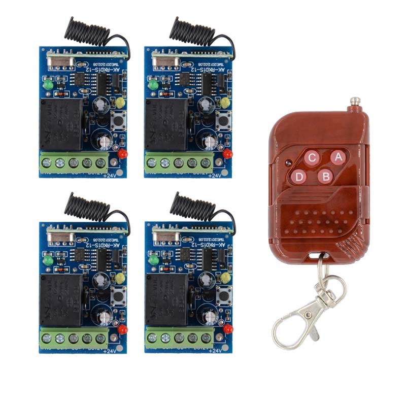DC12V 1CH 10A Receiver Remote Control Garage Door RF Wireless Remote Control Switch System 4PCS Receivers 1 ransmitter ac220v 1ch 10a rf wireless remote control switch system 4 transmitters mini receiver for appliances gate garage door window