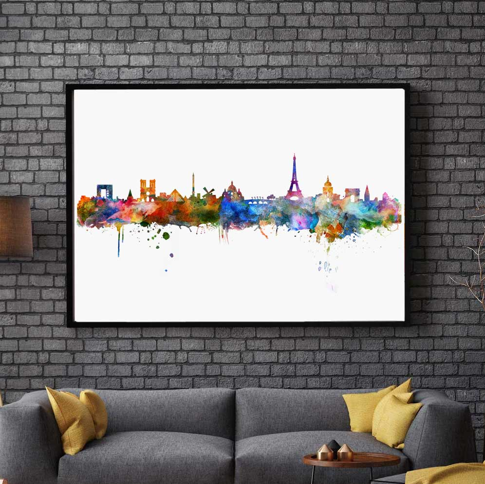 Elegant Paris Watercolor Skyline City Poster Map Paris Wall Art Skyline Poster For  Home Wall Hanging Pictures No Framed AP042 In Painting U0026 Calligraphy From  Home ...