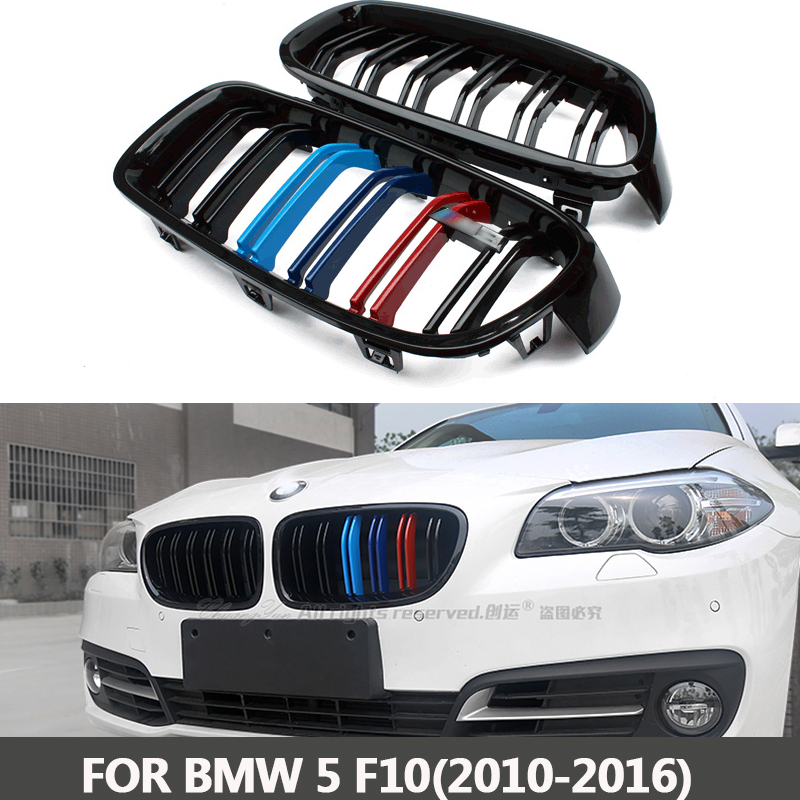 F10 5 Series Glossy Black Dual Slat M5 Style Front Kidney Grille Grill For BMW F10 520i 523i 525i 530i 535i 2010+ led drl daytime running light daylight waterproof fog head lamp for bmw f10 f18 5 series 525i 530i 535i 2010 2013 car styling