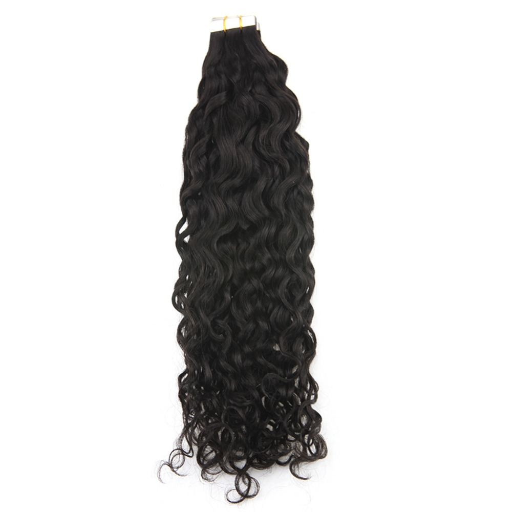 Hair-Extensions Adhesive-Tape Human-Hair Tape-In Black-Color Natural Remy Full-Shine