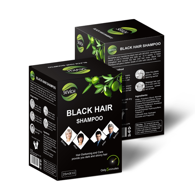 10 pcs/lot Instant Black Hair Shampoo Make Grey and White Hair Darkening and Shinny in 5 Minutes Sevich Make Up Free shipping