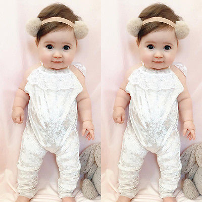 Cute Toddler Kids Baby Girl Halter Romper Clothes Velvet Lace Sleeveless Jumpsuit Playsuit Harem Outfits Infant Clothing