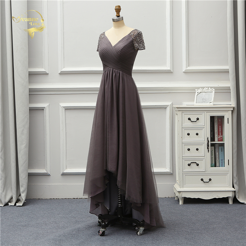 Jeanne Love Luxury Evening Dress New Arrival Front Short Long Back Short Sleeves Party Robe De Soiree Vestido De Festa OL5232 5