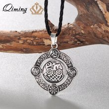 Silver Norse Men Necklaces Sleipnir Pendant Elder Futhark Runes Necklace Valknut Helm of Awe Odin's Horn Triquetra Women Jewelry(Hong Kong,China)