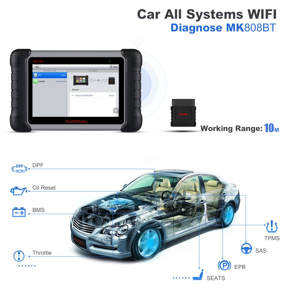 Image 2 - Autel MK808BT OBD2 Scanner Diagnostic Auto Tool OBD 2 Automotive Code Reader ODB2 Key Programmer Diagnosis Better To Launch X431-in Code Readers & Scan Tools from Automobiles & Motorcycles