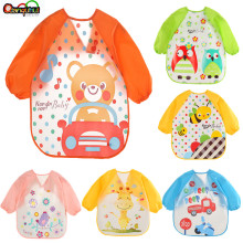 Милый детский нагрудник, водонепроницаемый передник с длинными рукавами, детский халат для кормления, нагрудник, детская одежда, мягкая одежда для малышей