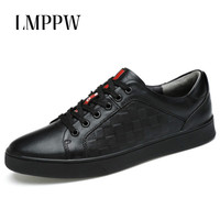 European Style Men Shoes Genuine Leather Casual Shoes Black White Breathable Lace Up Brand Designer Male