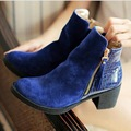 2016 New Women Ankle Boots Black Red Blue Square Heel High Heel Shoes Woman Buckle Design Snakeskin Winter Women Shoes Botas