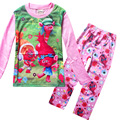 New Trolls Girls Pajama Sets Spring Cartoon Cotton Clothing Set For Girls Long Sleeve Shirt Pants 2 Pieces Kids Clothing
