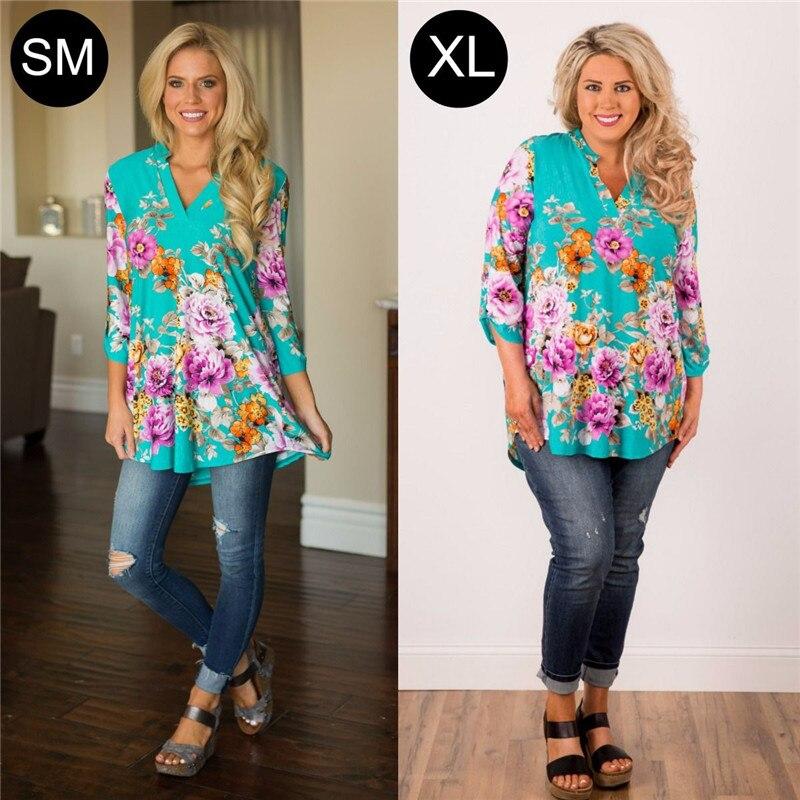 Floral   Blouse     Shirt   Women New Fashion Blusas Office Ladies Autumn Long Tunic Top Plus Size   Blouses