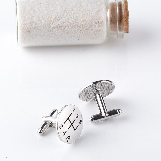 Silver Planted Men's Cufflinks Personality Creative Novelty Laser Engraving Jewelry Car Cuff Links