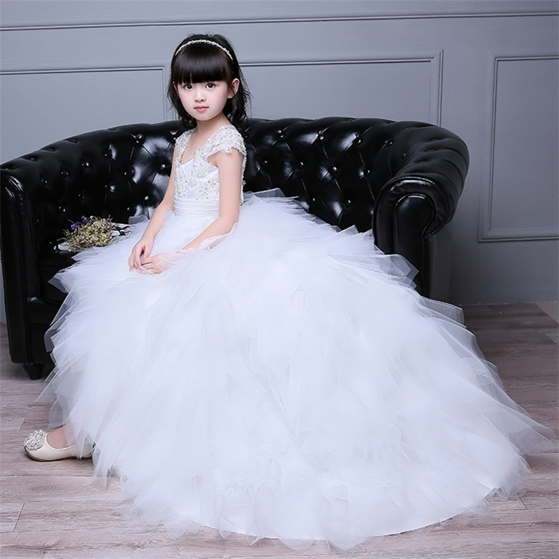 New Flower Girl Dresses for Wedding Princess Little Girls Kids/Child Dress with Train Puffy Party Pageant First Communion Dress