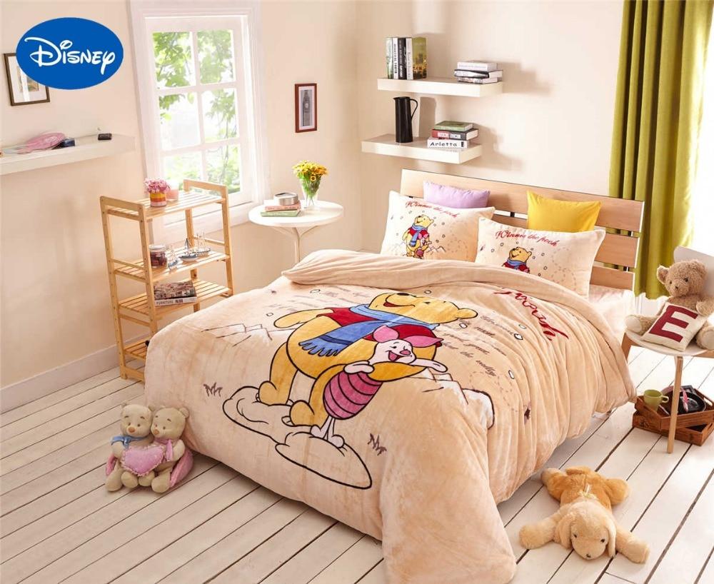 Cartoon Winnie The Pooh Piglet Flannel Quilts Comforters Bedding Set Twin Full Queen Size Bedspread S