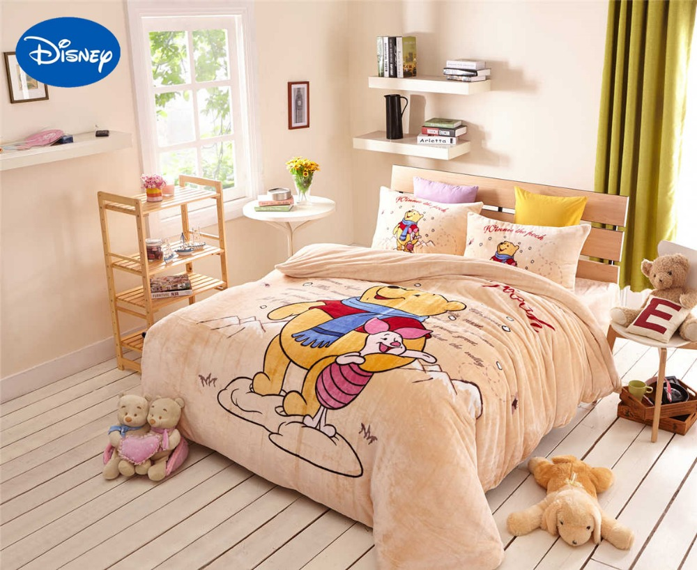Cartoon Winnie the Pooh Piglet Flannel Quilts Comforters Bedding Set Twin Full Queen Size Bedspread Girls Home Winter Warm Coral