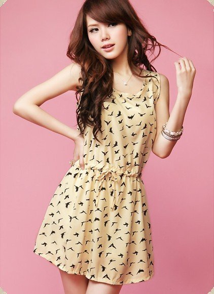New Fashion Women Dress Drawstring Cocktail Party Bird Cover Up Dress Vintage Simply Style