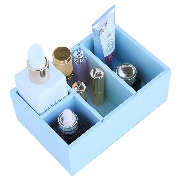 1 Wooden creative multi-functional office home desktop 4 grid storage box cosmetics finishing box 19.5 * 13 * 8cm
