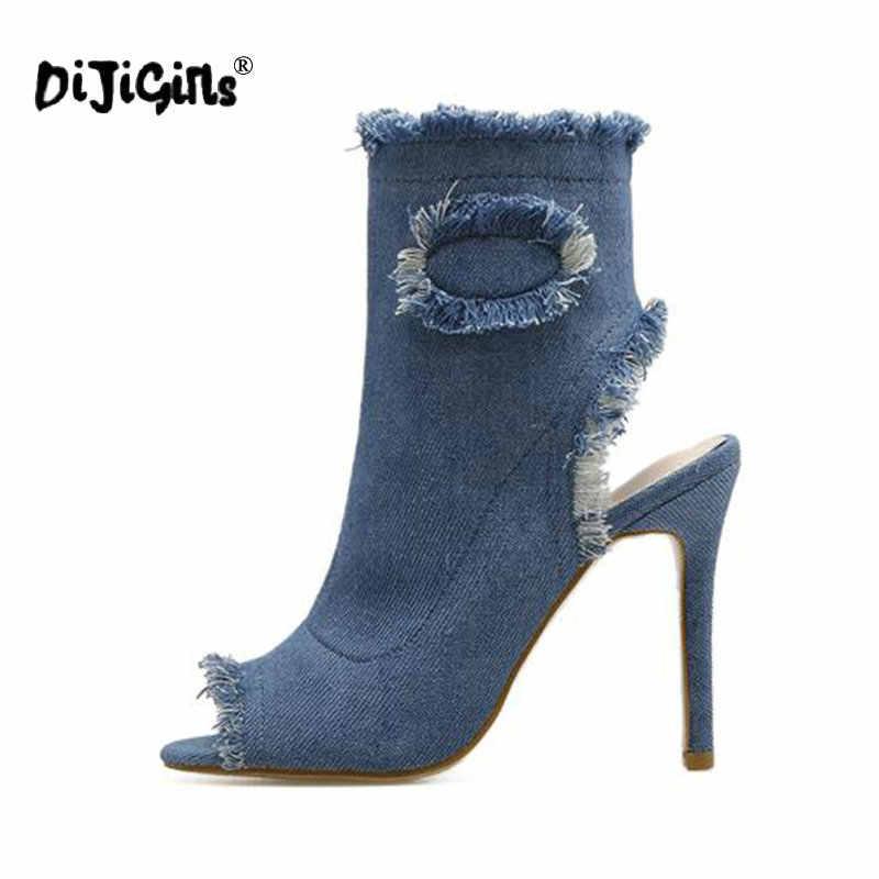 3373fdd5a DIJIGIRLS Blue Jeans sandalias botas 2018 verano Zapatos para mujer Botines  Chelsea botas tacones altos Sexy