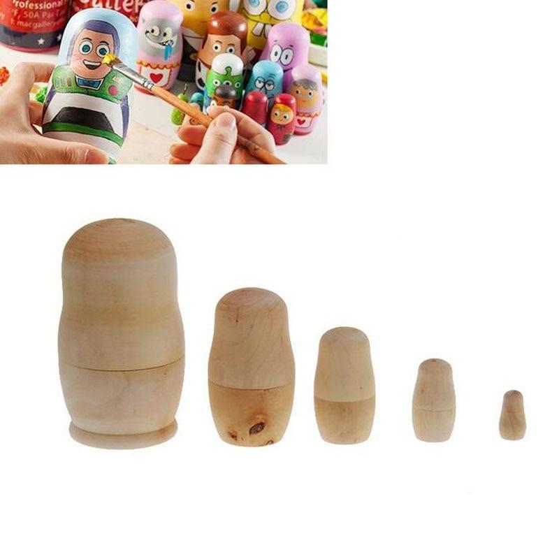 5pcs/set Unpainted DIY Blank Wooden Embryos Russian ...
