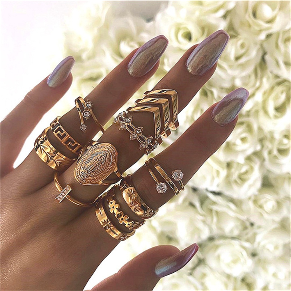13 Pcs/set Women Fashion Virgin Mary Geometric Flowers Leaf Gold Finger Rings Boho Charm Jewelry Accessories Mother's Day Gifts(China)