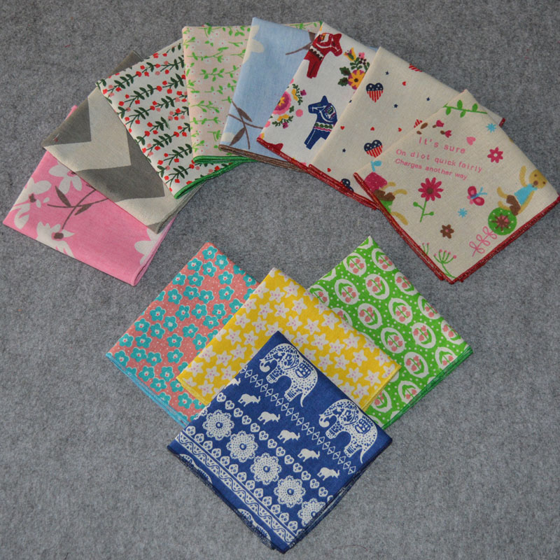 Men Flower Floral Hanky Pocket Square Horses Elephants Rabbits Wavy Handkerchief BWTYX0141