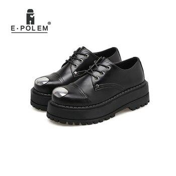 2018 Trendy EU/US Punk Round Toe Lace-Up Platform Shoes Female Harajuku College Retro Flat Shoes Boots Metal Nose Footwear Shoe