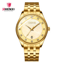 CHENXI Brand Calendar Gold Quartz Watches Men Luxury Hot Selling Wristwatch Golden Clock Male Rhinestone Watch Relogio Masculino цена и фото