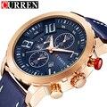 Curren homens relógio de pulso homem relógio de quartzo esportes casuais relógio de ouro de couro azul do exército militar 2016 homens relógios relojes hombre