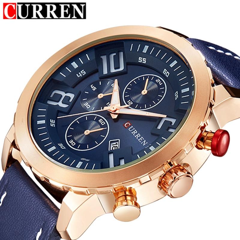 Prix pour Relogio masculino curren montres hommes marque de luxe en cuir or quartz montre hommes de mode casual sport horloge mâle montres