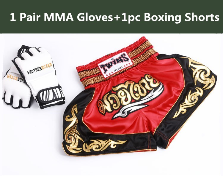 Adult Male Twins King Muay Thai MMA Boxing Trunks Sanda Shorts MMA Gloves Mittens Durable PU Leather Half-Finger Punching Gloves  цены