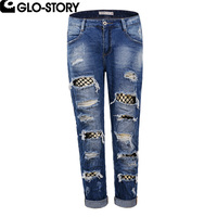 GLO STORY Women Hole Ripped Boyfreind Jeans Female Fashion Hollow Out Spliced Mesh Distressed Jeans Ladies